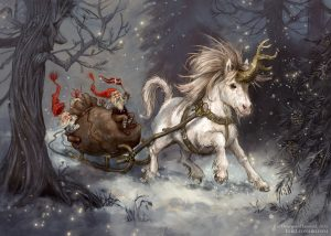 Illustration of a Shetland Pony Unicorn pulling a sleigh with christmas gnomes through the snow. Art by KiriLeonard.com